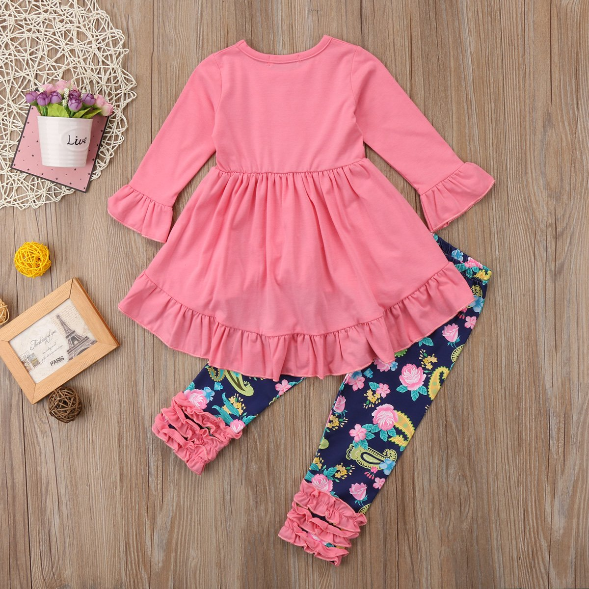 Fashion Baby Girls Pink Ruffle T-Shirt Top+Floral Long Pant Spring Outfits