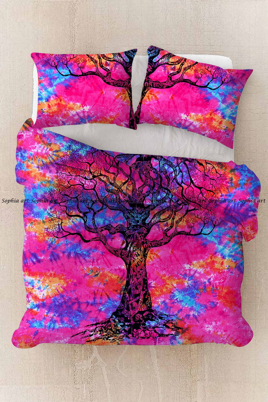 Sophia Art Exclusive Hippie Bohemain Multi Tye Dye Tree Cotton Mandala Duvet Cover, Boho Mandala Duvet Cover With Pilow Cover (Multi)