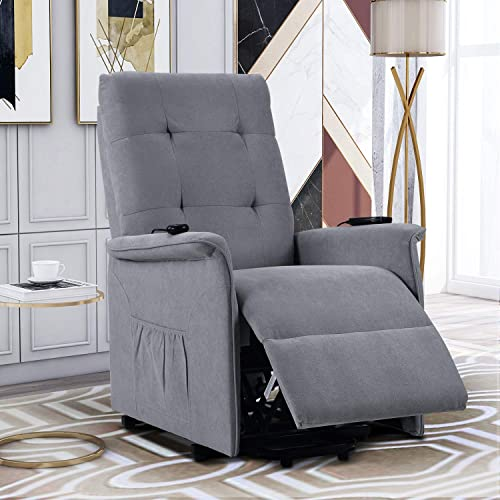 Power Lift Recliner with Massage Vibration Electric Recliner Chair Massage Sofa Microfiber Fabric Living Room Chair with Side Pockets and Remote Control