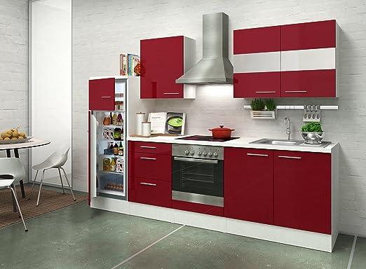 respekta Premium Cocina 270 cm Blanco Rojo Nevera congelador ...