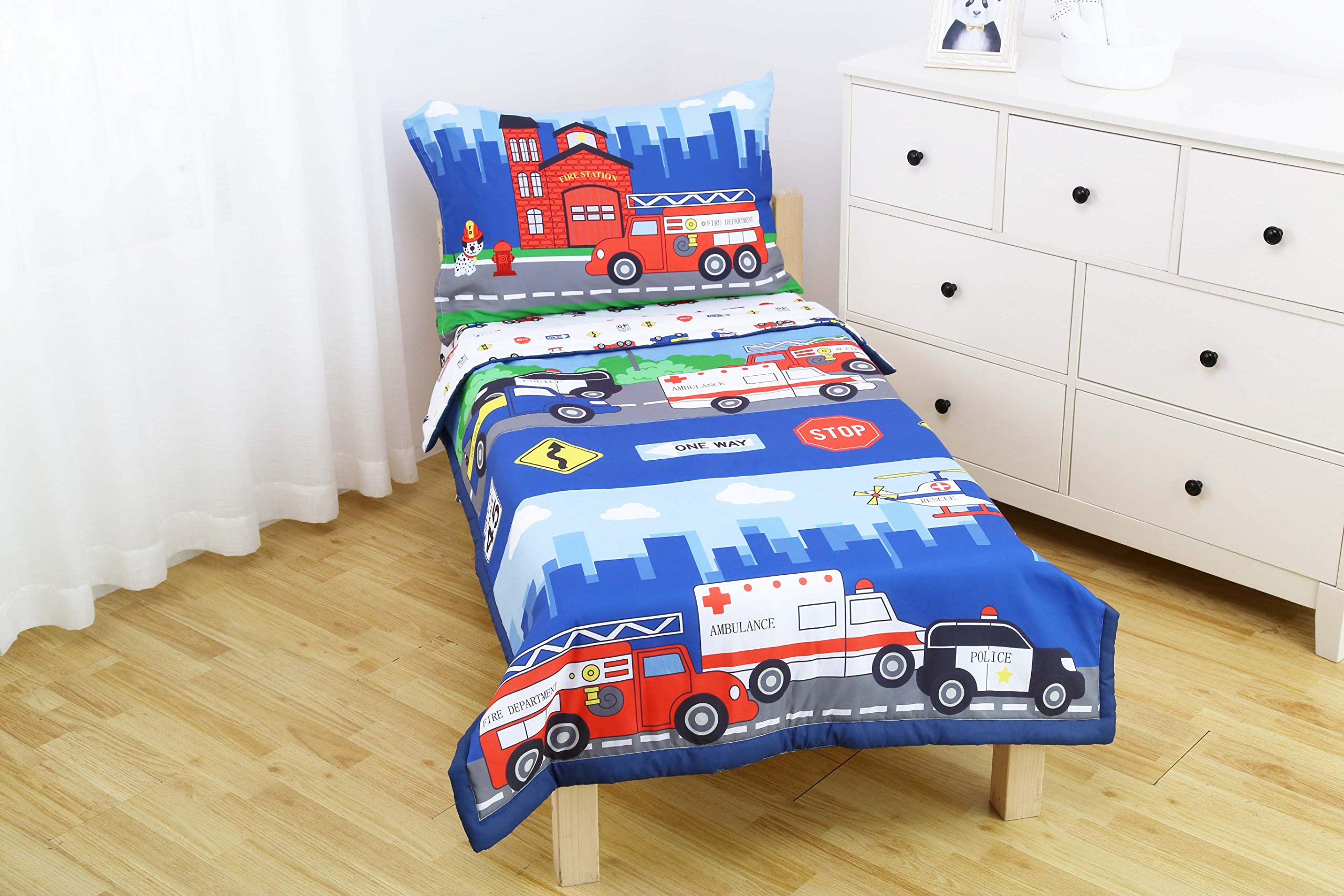 Everyday Kids 4 Piece Toddler Bedding Set -Fire and Police Rescue- Includes Comforter, Flat Sheet, Fitted Sheet and Reversible Pillowcase by Everyday