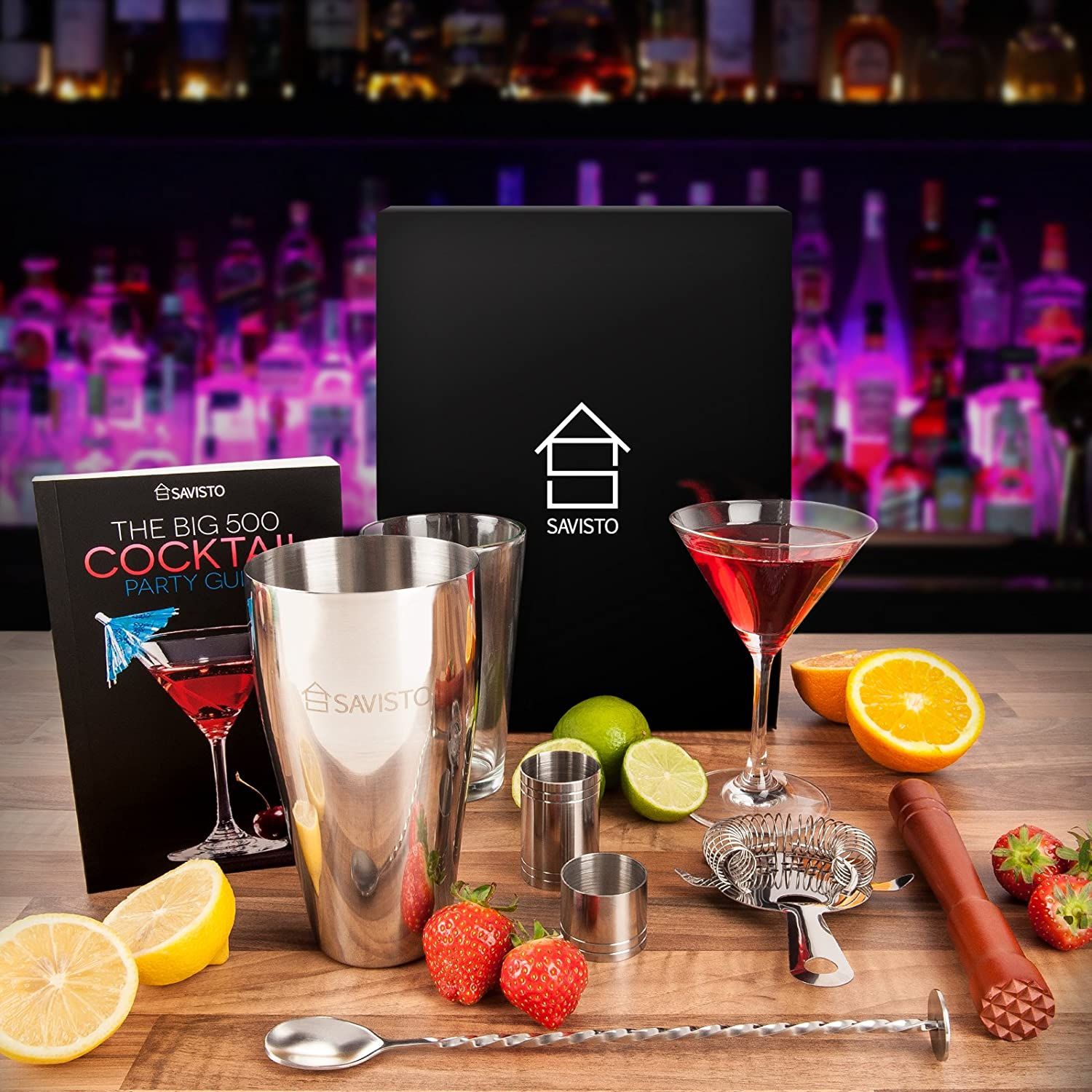 Go a step further and even buy her a cocktail mixing kit, or some cute items to use at a dinner party such as cocktail or wine glasses!