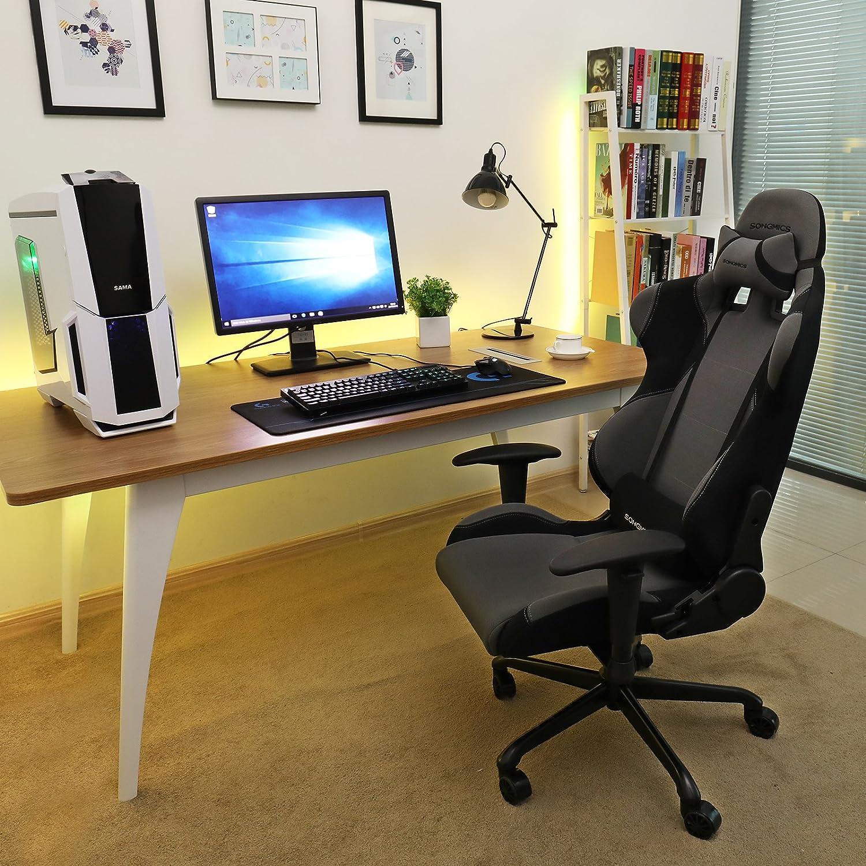Songmics Poltrona Girevole Sedia direzionale da ufficio con poggiatesta e cuscinetto lombare nero grigio RCG02G Amazon Casa e cucina