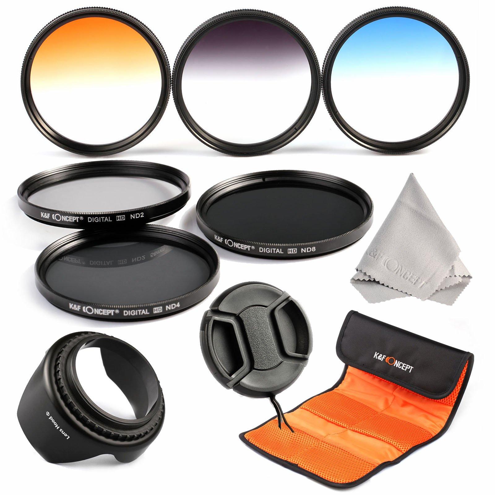52mm filter set, K&F Concept 52mm 6pcs Professional Lens Filter Kit Neutral Density Filters Set (ND2 ND4 ND8) + Slim Graduated Color Filter Set (Blue Orange Gray) For Nikon DSLR Cameras Lens