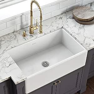 Ruvati 33 x 20 inch Fireclay Reversible Farmhouse Apron-Front Kitchen Sink Single Bowl - White - RVL2300WH