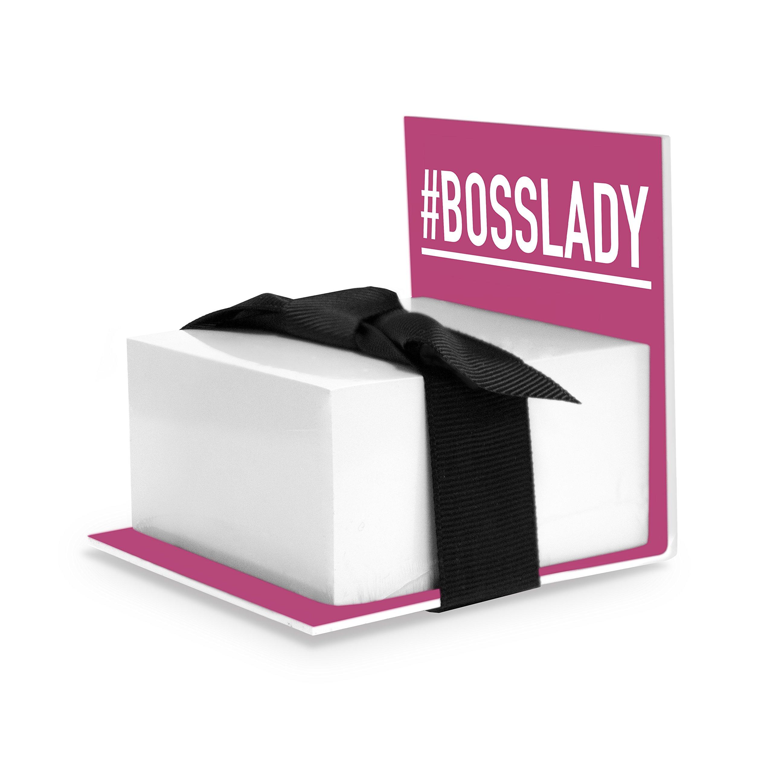 Sticky Notes Holder, BossLady, Pink (Boss Lady Gift)