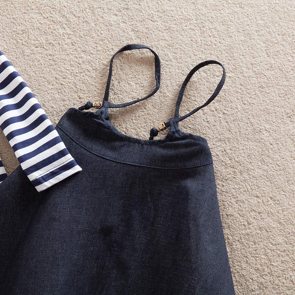 JUXINSU Girls Cotton Long Sleeve T-Shirt Denim Skirt Set for Winter and Autumn 2-7 Years TL612 (Navy, 4T) by JUXINSU (Image #6)
