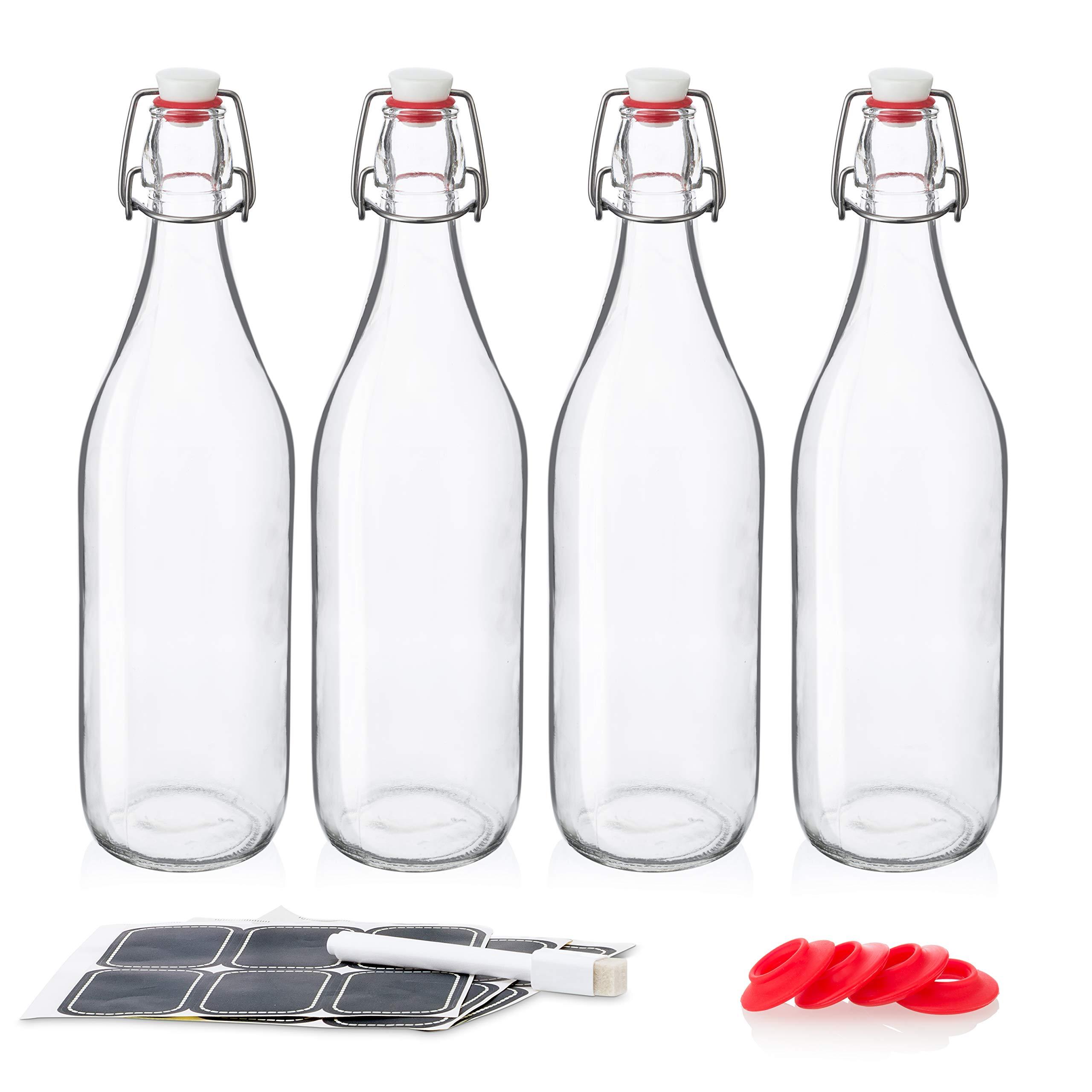 Swing Top Glass Bottles 32oz / 1 Litre - CERAMIC TOPS - Giara Glass Bottles With Stopper Caps - Flip Top Water Bottles - Clear [4pk Set] by Otis Classic