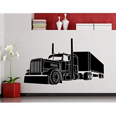 Big Truck Wall Decal Semi Truck Automobile Monster Car Vehicle Vinyl Sticker Home Nursery Kids Boy Girl Room Interior Art Decoration Any Room Mural Waterproof Vinyl Sticker (188xx): Baby