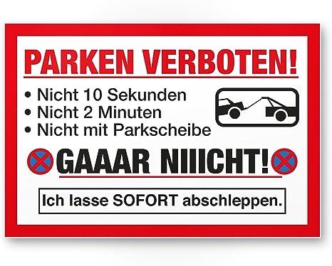 30 x 20cm Verbotsschild Parkplatz freihalten Parkverbot Kunststoff Schild Hinweisschild aus Kunststoff Privatparkplatz Parken verboten Kunststoff Schild kostenpflichtig abgeschleppt
