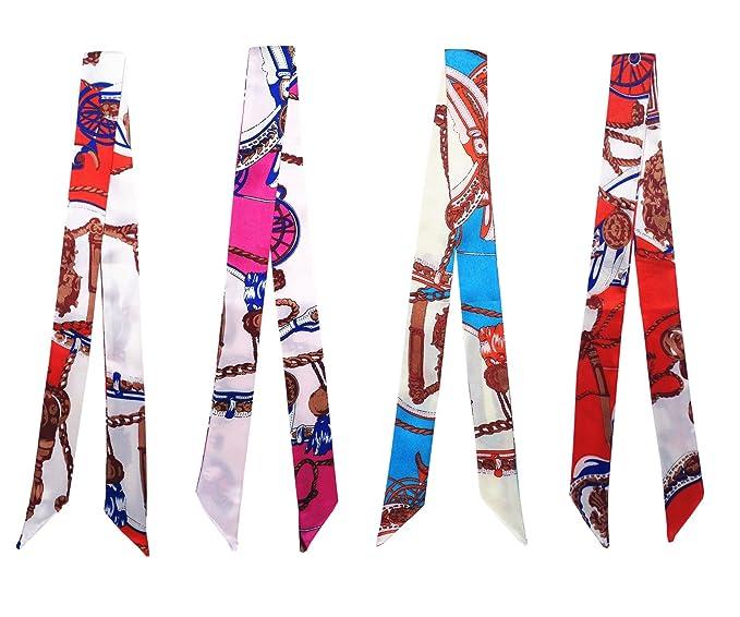 4 piezas Mujeres Twilly Bolso del abrigo de la cinta bufanda diadema  pulsera cintura (4 piezas twilly fulares)  Amazon.es  Ropa y accesorios 8b3300d4843d
