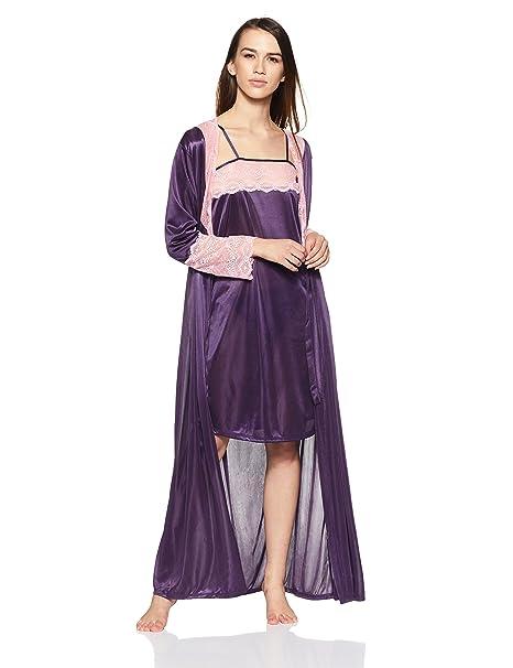 0685921aa7 Clovia Womens 7 Pc Satin Nightwear Set - Purple (NSE0564A15 Purple O ...