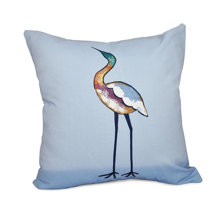 E by design 26 x 26 inch Bird Fashion Animal Print Pillow Blue