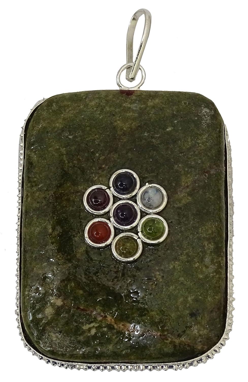 Harmonize Serpentine With Epidote 7 Chakra Pendant Spiritual Gift Reiki Healing Stone Locket CDJ167A-1