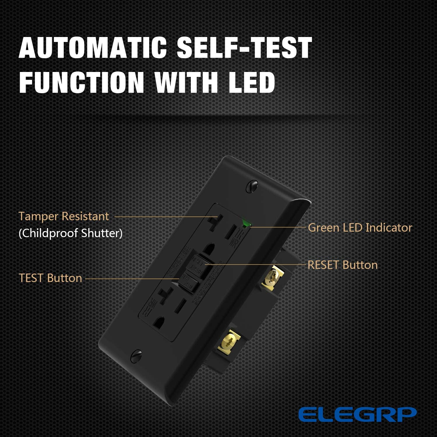 5-20R GFI Dual Receptacle UL Listed ELEGRP 20 Amp GFCI Outlet 1 pack,Black TR Tamper Resistant and WR Weather Wall Plate Included Self-Test Ground Fault Circuit Interrupters