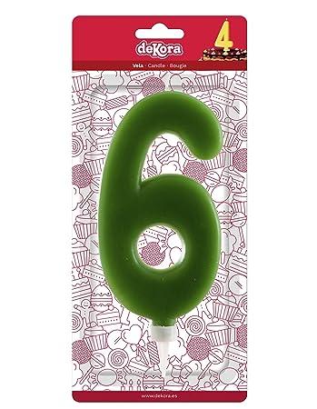 Dekora-345283 Vela de Cumpleaños Gigantes Número 6 de Color Verde, (345283)