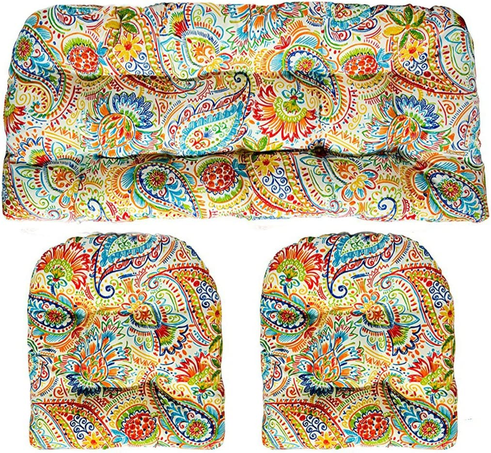 Resort Spa Home Decor 3 Piece Wicker Cushion Set – Indoor Outdoor Wicker Loveseat Settee 2 Matching Chair Cushions – Gilford Primary Thin Line Floral Paisley