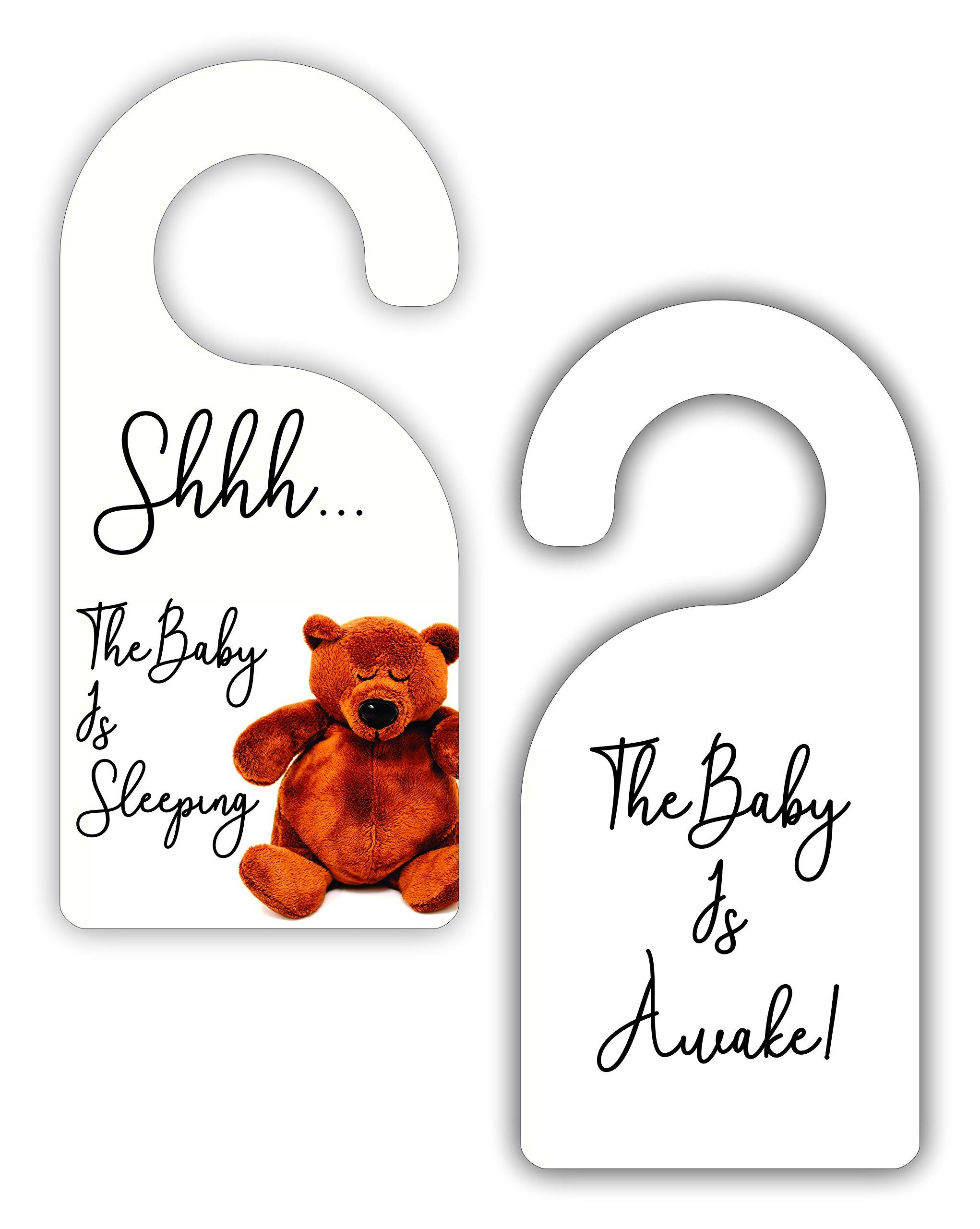 Sleeping Baby Nursery Room Door Sign Hanger - Double Sided - Hard Plastic - Glossy Finish