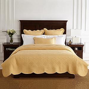 """Calla Angel ES-XL7J-6ZLC Sage Garden Luxury Pure Cotton Quilt, 92"""" x 88"""", Gold, Queen"""