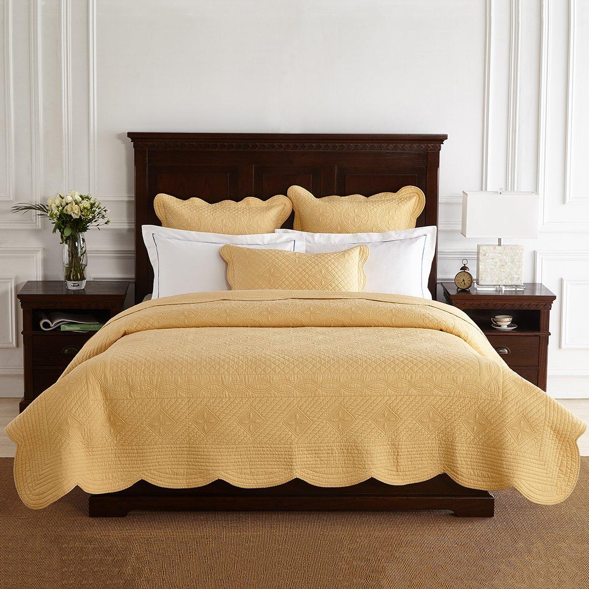 Calla Angel ES-XL7J-6ZLC Sage Garden Luxury Pure Cotton Quilt,Gold,Queen by Calla Angel