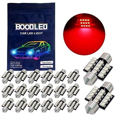 "Boodled 20X C5w 31mm(1.25"") LED Bulb 3528 12-SMD Chipsets Red Festoon Interior Dome Map Trunk Cargo LED Bulbs Lights DE3175 DE3021 DE3022 3175,DC12V.RED.: Automotive [5Bkhe1510585]"