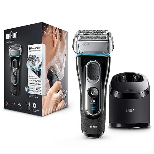 Braun Series 5 5197 Clean Charge Afeitadora eléctrica hombre afeitadora barba en húmedo y seco máquina de afeitar barba con recortadora de precisión negro