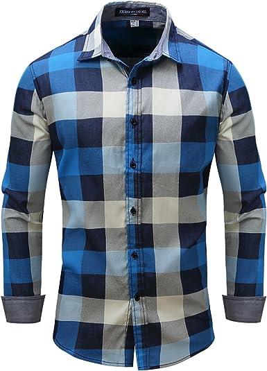 Casual Botón De Manga Larga Camisas para Hombres, Estilo ...