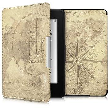 kwmobile Funda para Amazon Kindle Paperwhite - Carcasa para e-Reader de Cuero sintético - Case con diseño de mapamundi Vintage (para Modelos hasta el ...