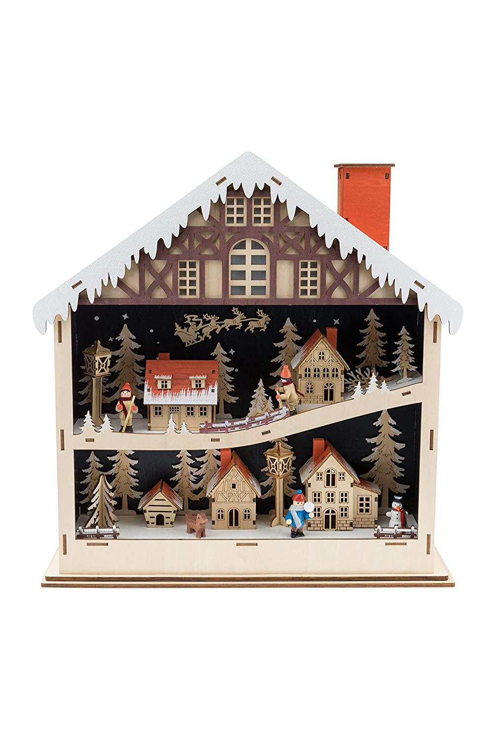 Clever Creations Traditional Wooden Village Christmas Decorations | Festive Christmas Decor| Battery Operated LED Christmas Lights | Multilayered Winter Scene