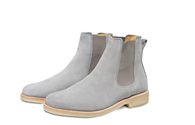 f1aa6953dc9e F8wears Handmade Chelsea Light Grey Color Suede Leather Boot With Crepe  Sole (9)