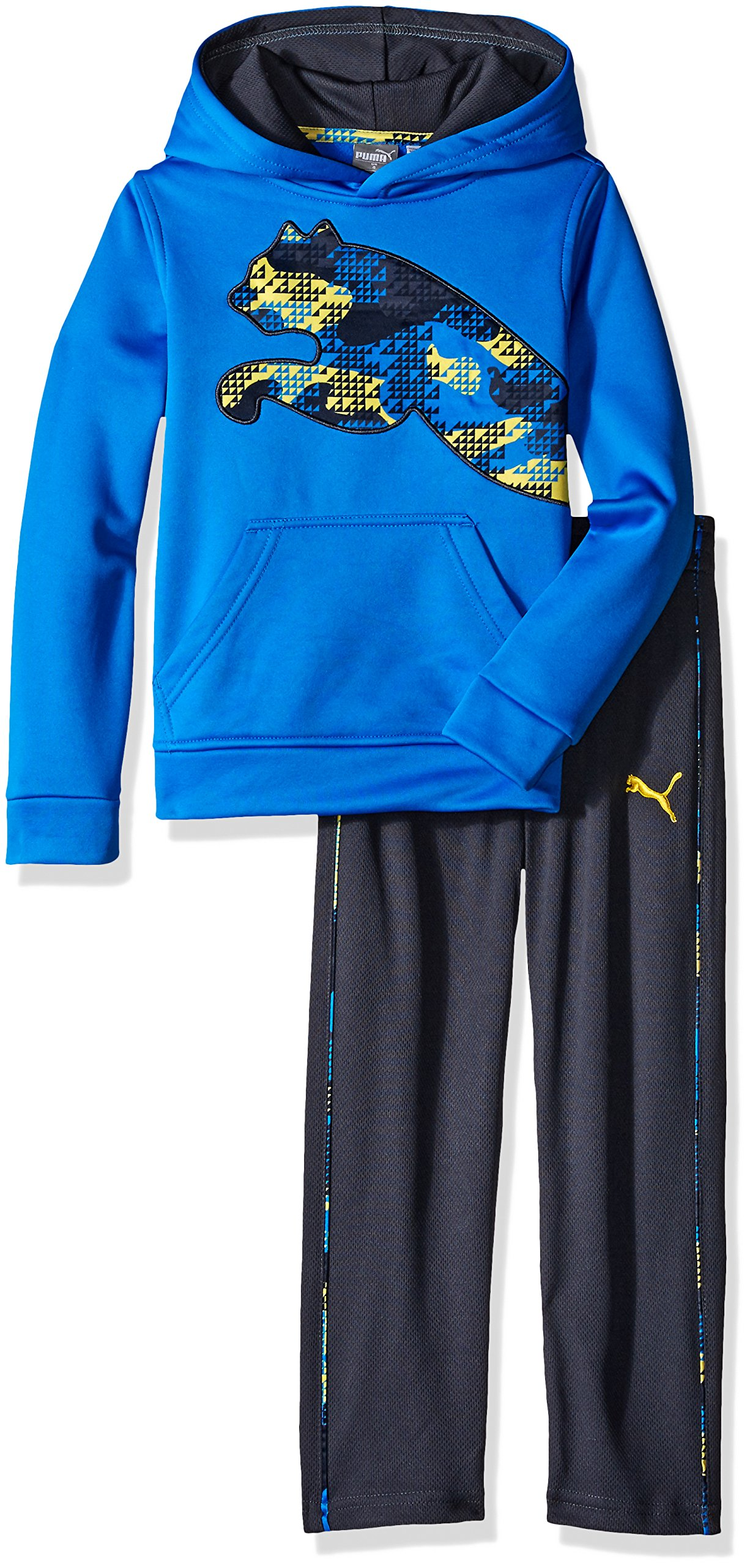 PUMA Little Boys' Toddler 2 Piece Tech Fleece Hoodie Wrapped Cat and Pant Set, Sky Blue, 4T