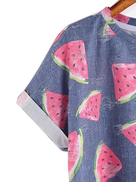 511c2636a6d Amazon.com: Chanyuhui Women Shirts Lady Watermelon Short Sleeve Blouse  Sweatshirt Pullover Tops: Clothing