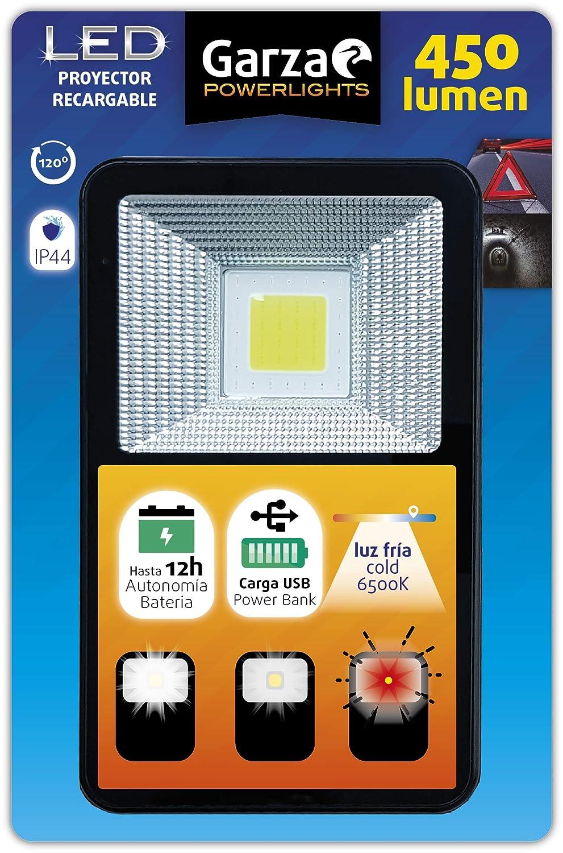 S 3 Modos Distintos de iluminaci/ón ip44 Garza Linterna proyector LED Recargable con bater/ía de hasta 12 Horas Que Hace de Power Bank luz fr/ía 6500k y 450lm Negro