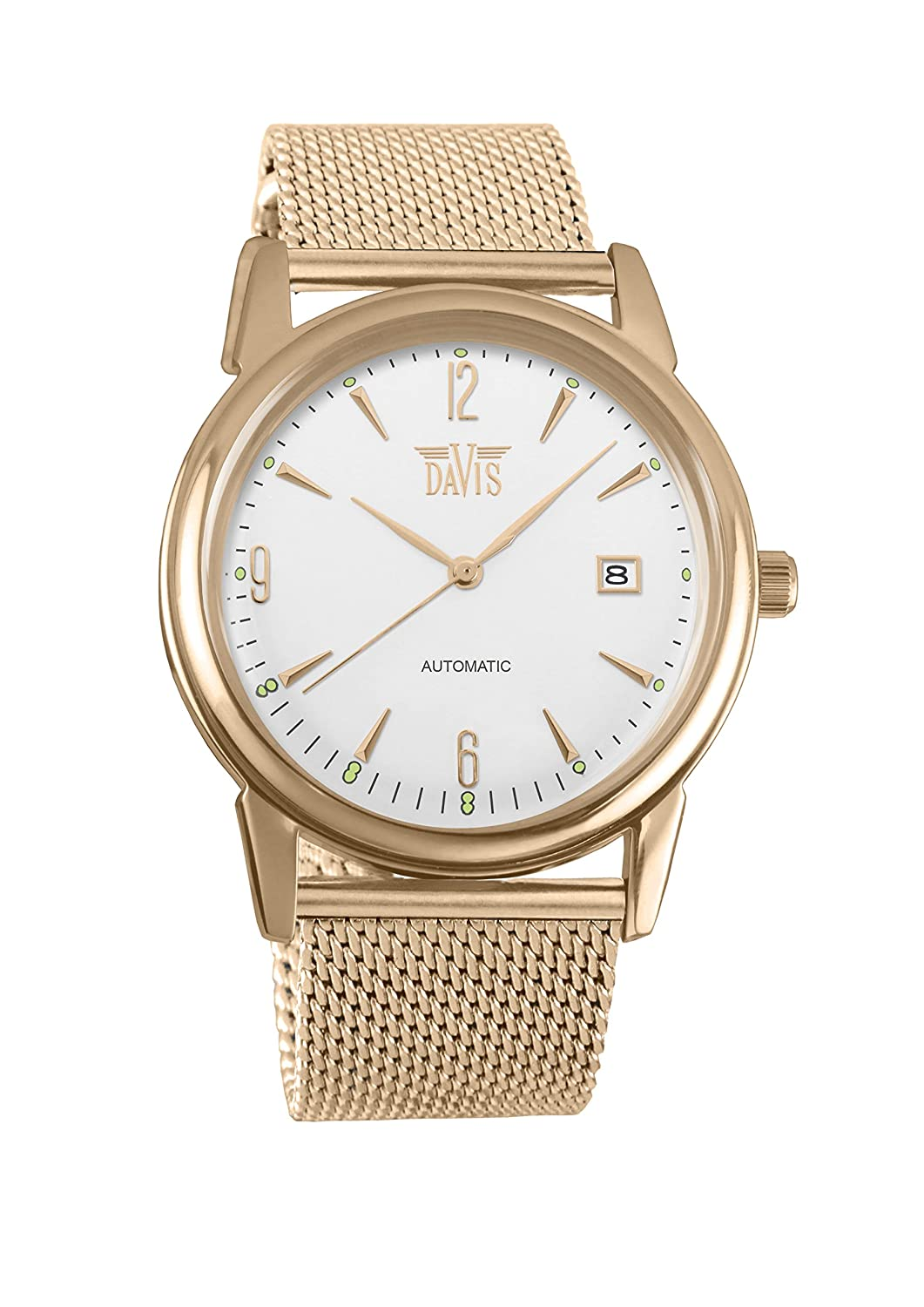 Amazon.com: Davis 1905MB - Mens Automatic Watch Retro Rose Gold Case Steel Dial Date Mesh Milanese Strap: Watches