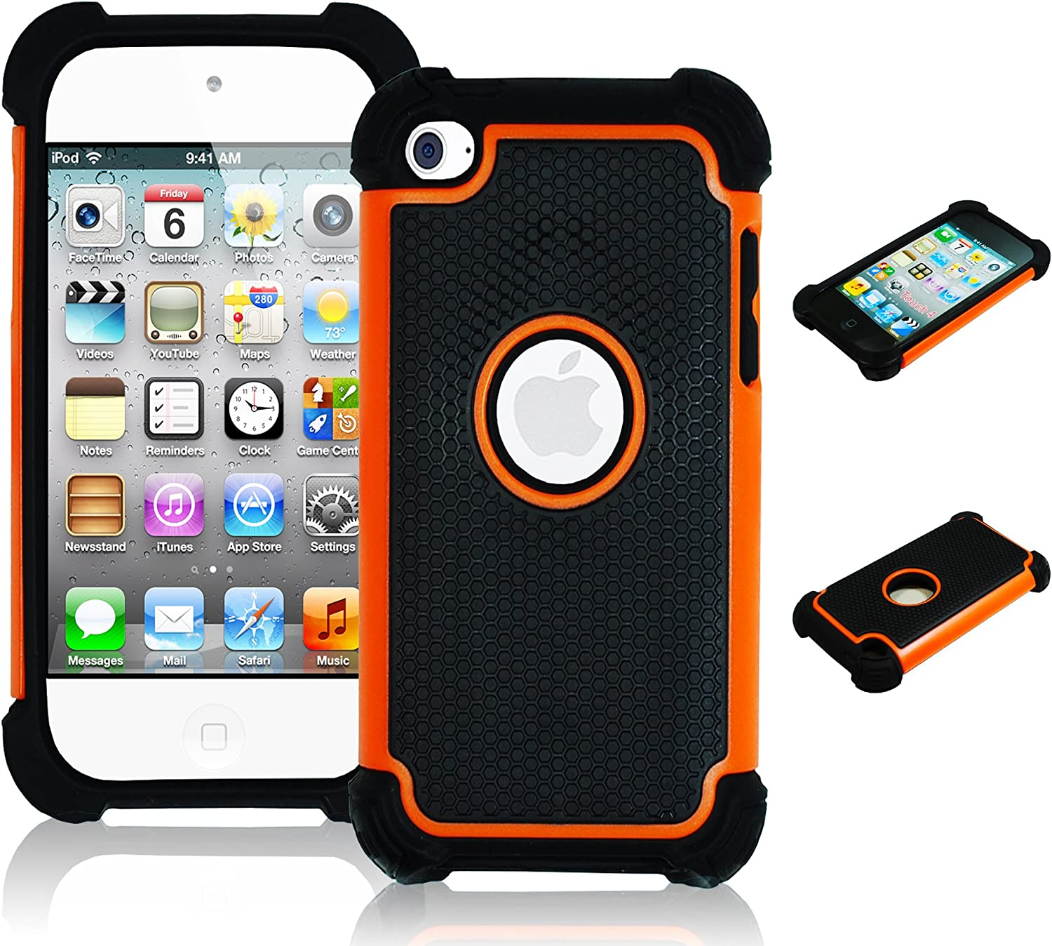 iPod Touch 4 Case, Bastex Hybrid Slim Fit Black Rubber Silicone Cover Hard Plastic Orange & Black Shock Case for Apple iPod Touch 4, 4th Generation