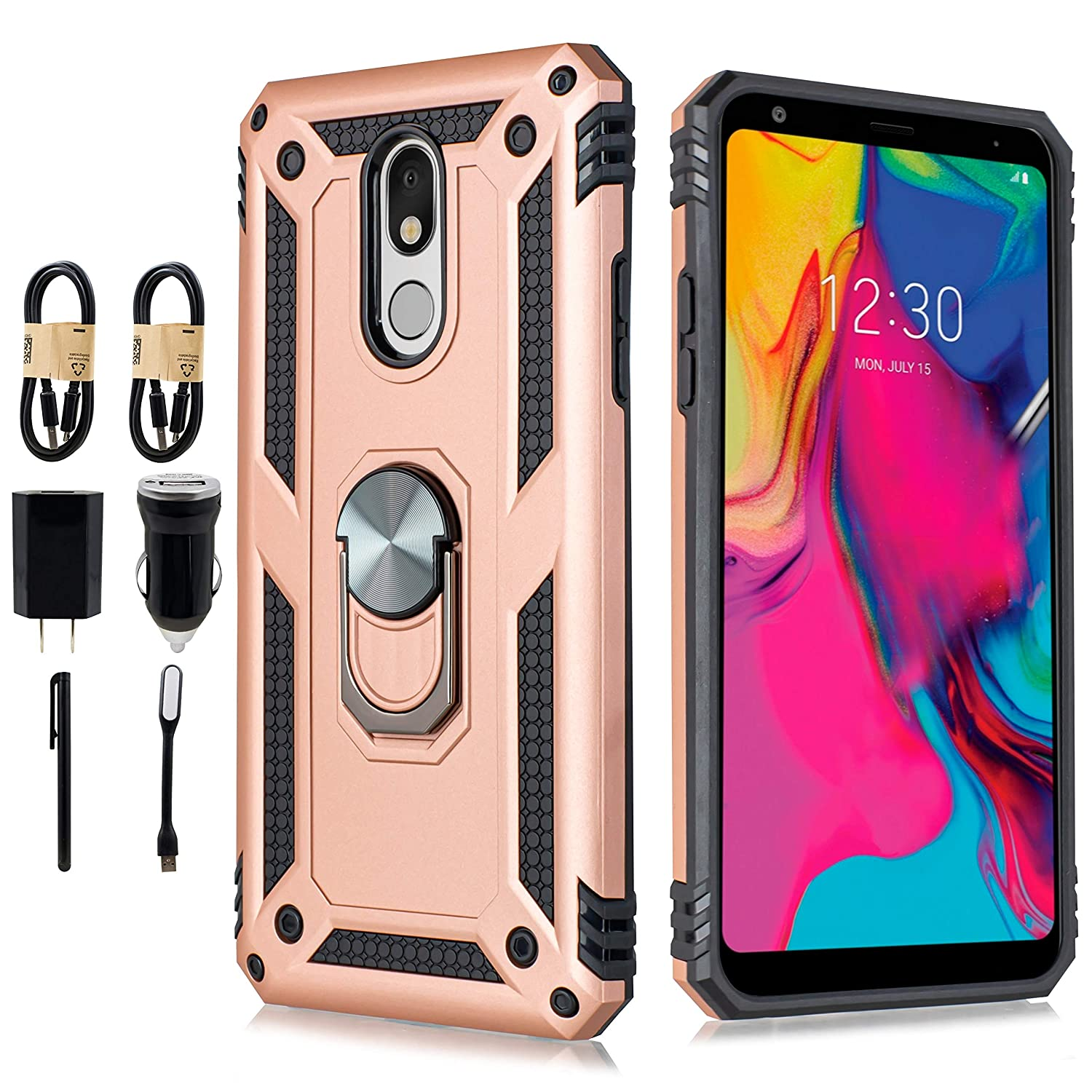 Stylo 5 Case,LG Stylo 5 Magnetic Shockproof Hard Armor Ring Holder with Kickstand and Car Mount Phone case [Tempered Glass Screen] [Accessory Pack] (Rose)