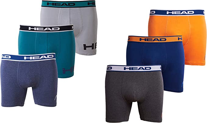 HEAD Mens Athletic Underwear - 6-Pack Stretch Athletic Boxer ...