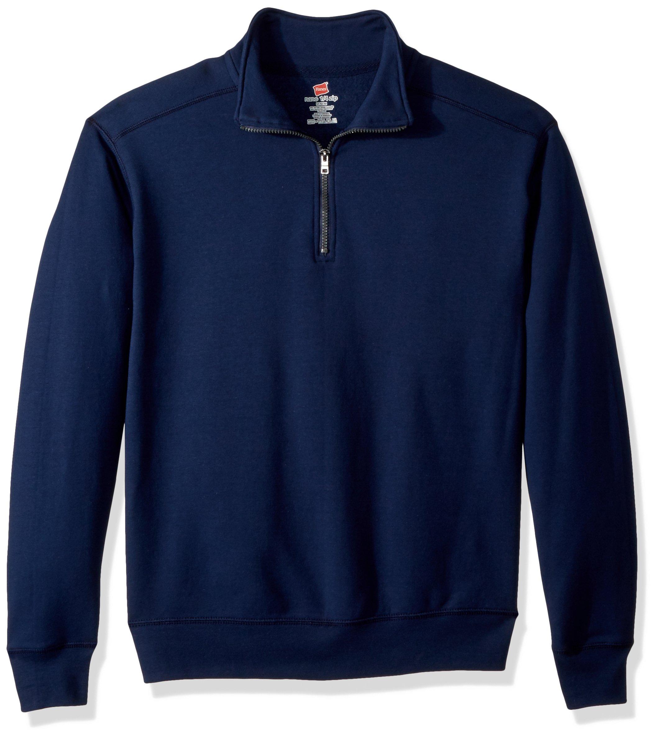 Hanes Men's Nano Quarter-Zip Fleece Jacket, Navy, Large