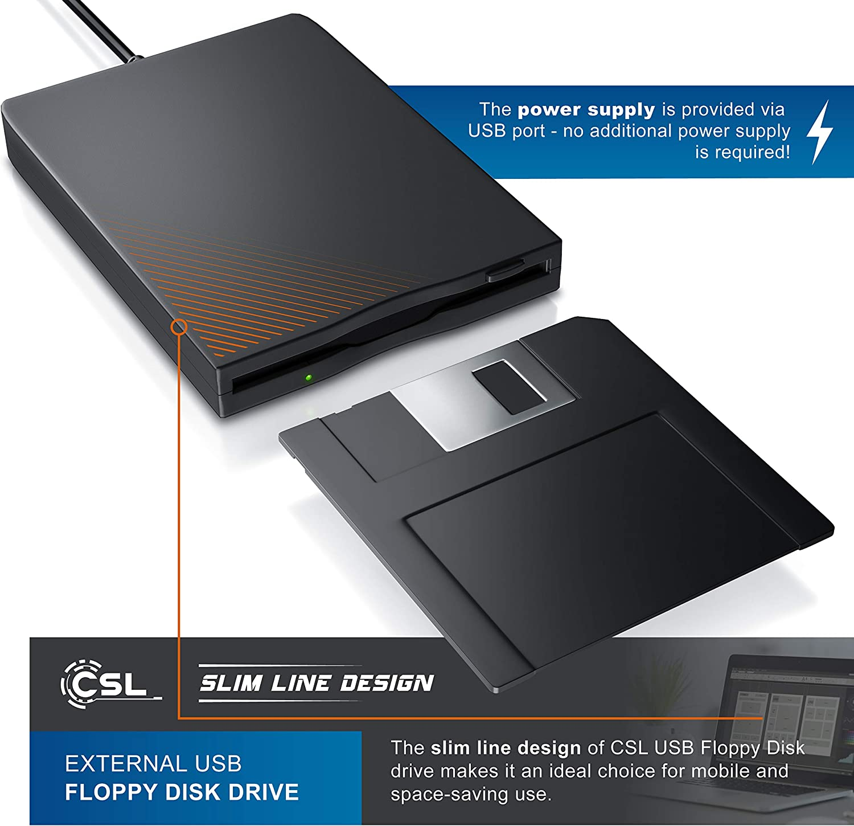 CSL-Computer Disco USB externo portátil Srive FDD para Windows 10, PC y MAC (Plug and play) 1,44 MB 3,5 pulgadas Un Negro