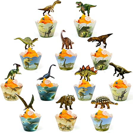 24 x Kids Dinosaur Cup Cake Toppers ICING