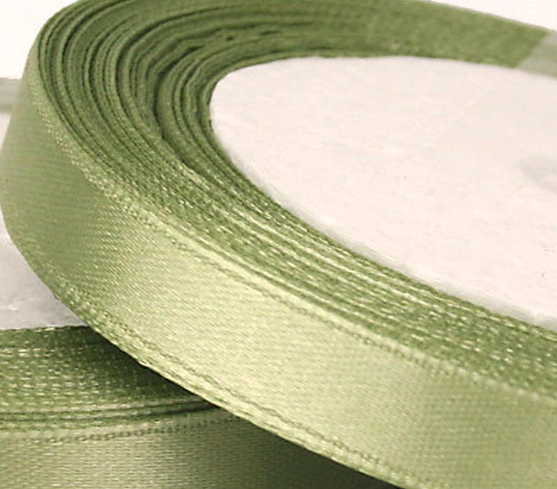 1 Roll of 10mm x 25 metres Satin Ribbon GCS London Light green Sage Wedding Favours Decorative Easter Christmas