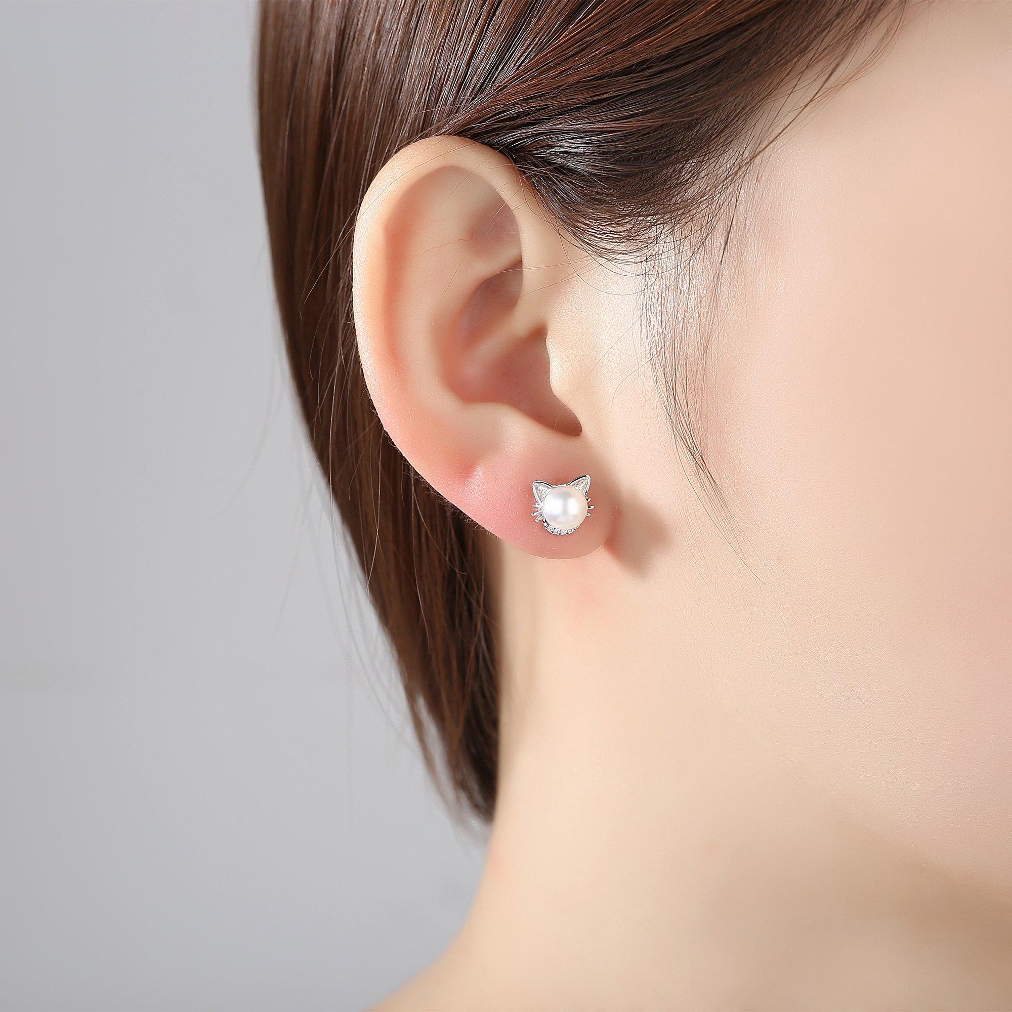 Sterling Silber Katze Perlenohrringe,Süßwasser Kultiviert Perle Ohrringe,Weiß Zirkonia Ohrstecker für frauen,mädchen