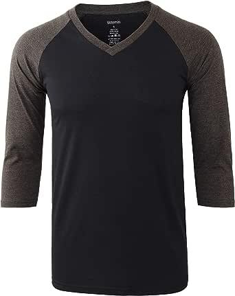 Vetemin Men's 3/4 Sleeve V Neck Active Sports Hiking Baseball Jersey Tee Shirts