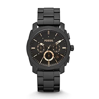 Fossil Mens Machine Quartz Stainless Steel Chronograph Watch Color: Black (Model: FS4682)