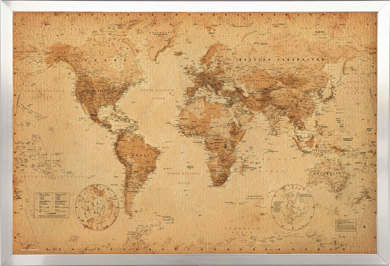 World map vintage style poster print amazon home kitchen gumiabroncs Choice Image