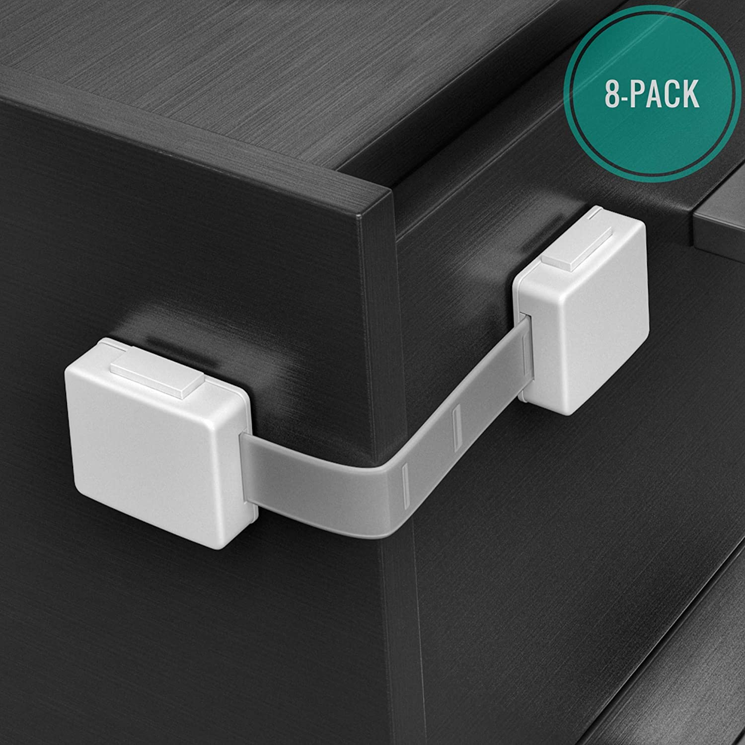 Skyla Homes - Cabinet Locks Child Safety (8-Pack), The Safest, Quickest and Easiest 3M Adhesive Baby Proofing Latches, No Screws or Magnets, Multi-Purpose for Furniture, Kitchen, Ovens, Toilet Seats