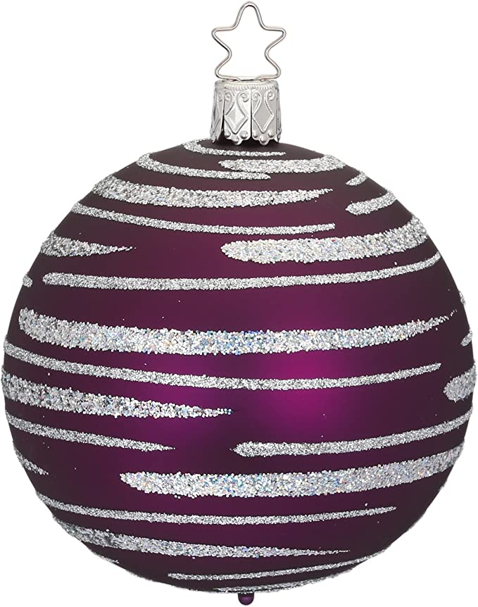 Inge/'s Christmas Heirlooms Purple//Pink Easter Egg Blown Glass Ornament  Germany