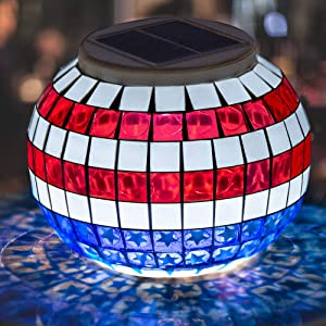Pandawill Color Changing Solar Powered LED Garden Lights, Rechargeable Table Waterproof Night Lights for Garden, Party, Bedroom, Patio,Outdoor/Indoor Decorations (Star-Spangled Banner)