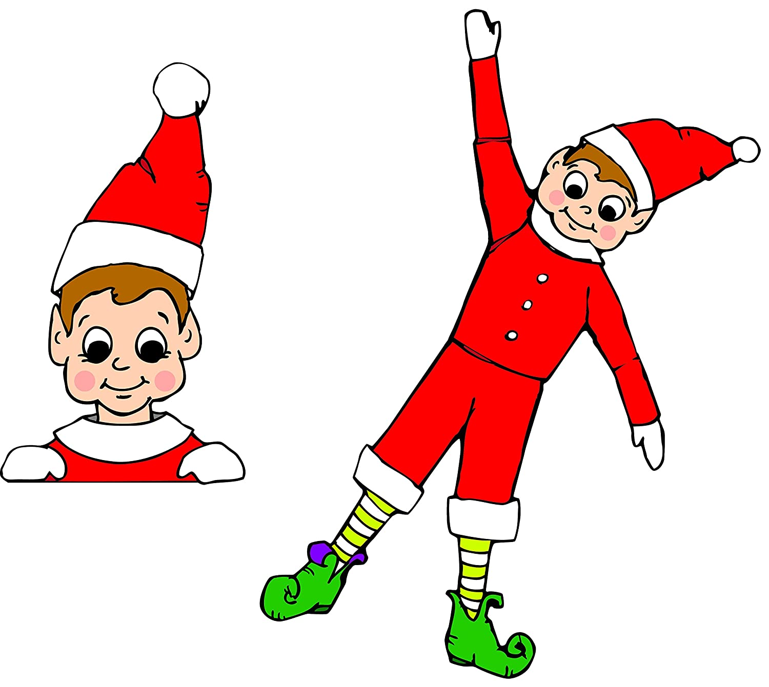 Elf Two Pack Christmas Holiday Car and Refrigerator Magnet Made in the USA