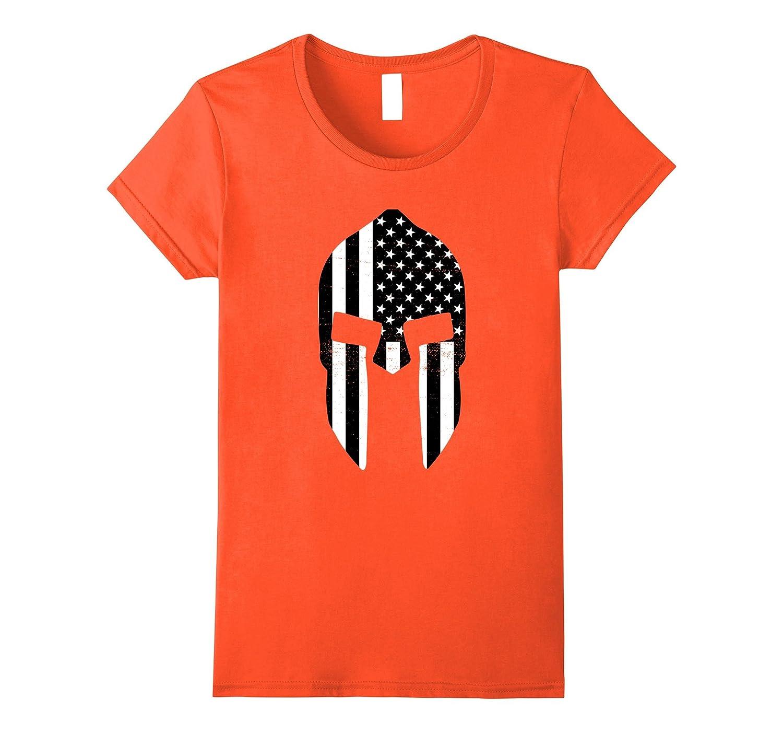 American Spartan Flag Shirt USA Patriotic Helmet Black White